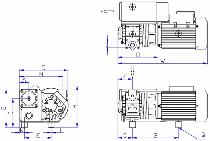Dimensions drawing of the EV-0016 vacuum pump