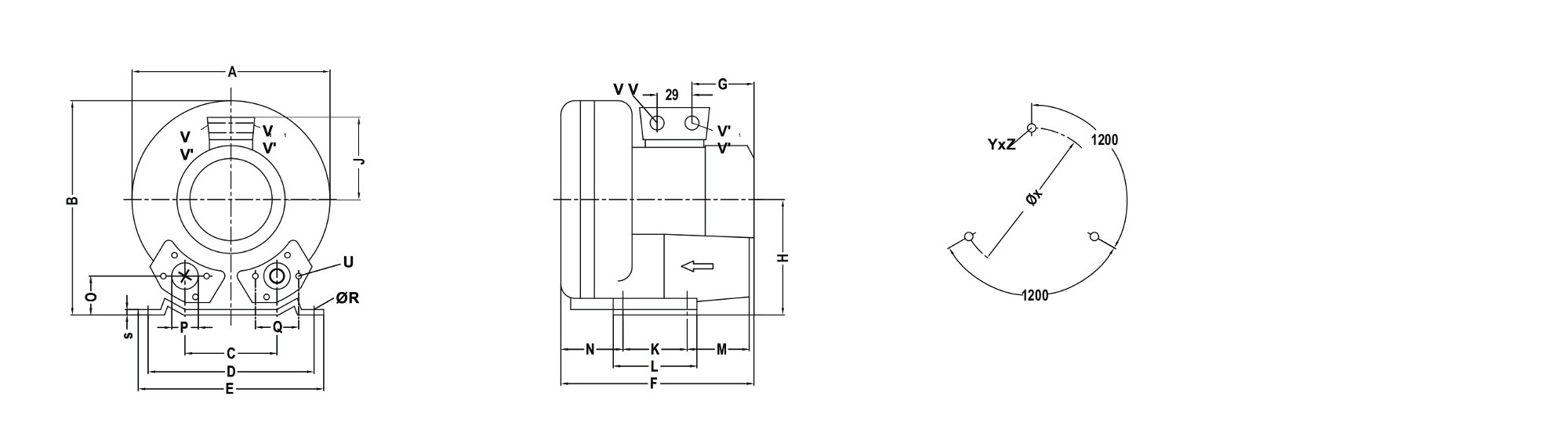 Dimensions of the EVSC-S20 blower